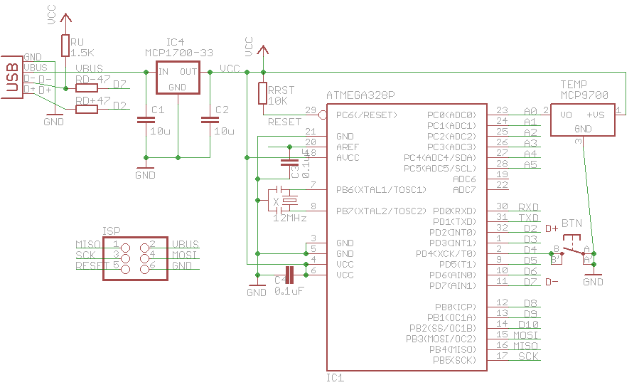 hid-class usb serial communication for avrs using v-usb, Wiring schematic